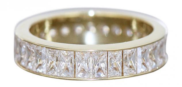 Breiter Memoryring Gold 585 mit Baguette Zirkonias Goldring Ring Damenring 14 Kt