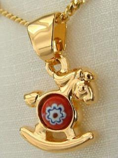Massives goldenes Pferdchen Goldkette und Anhänger Gold pl Panzerkette vergoldet