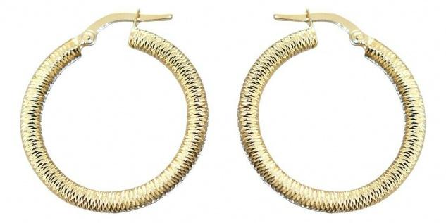 Creolen Gold 585 Ohrringe funkelnd geschliffen 14 Karat Damen Ohrschmuck 2, 6 cm