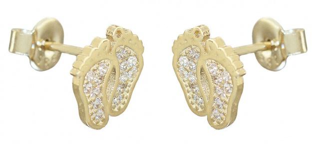 Fußabdruck Ohrstecker Gold 585 Zirkonias Footprint Ohrringe Ohrschmuck 14 Karat