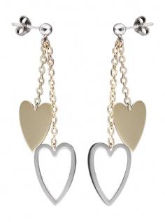 Lange Ohrhänger Gold 585 - Herzen bicolor - Ohrstecker - Herz Gold - Weißgold