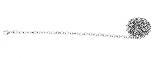 Erbskette Silber 925 massiv rhodiniert 50 cm Halskette Karabiner Silberkette