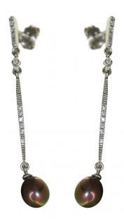 Elegante lange Ohrhänger Weißgold 585 mit grauen Perlen Ohrstecker Gold - Perle