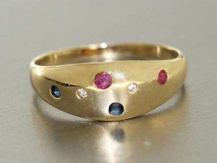 Ring Gold 585 - RING in 14 kt Gold (585/000) mit Rubin, Safir, Diamant