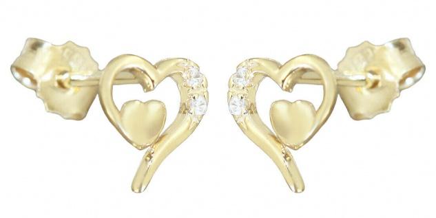 Ohrstecker Gold 585 Herzen Zirkonia Ohrringe Mädchen Kinder Ohrschmuck 14 Karat