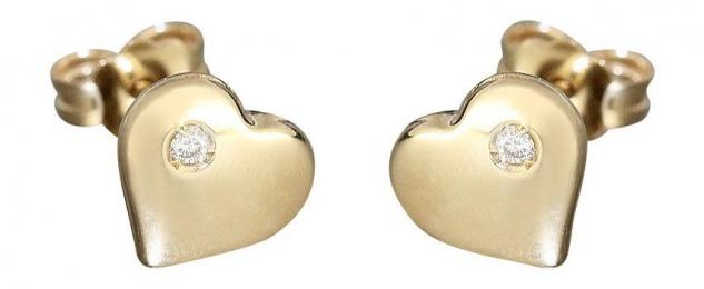 Herz Ohrstecker Gelbgold 585 groß oder klein mit Brillanten Ohrringe Herzen 14kt