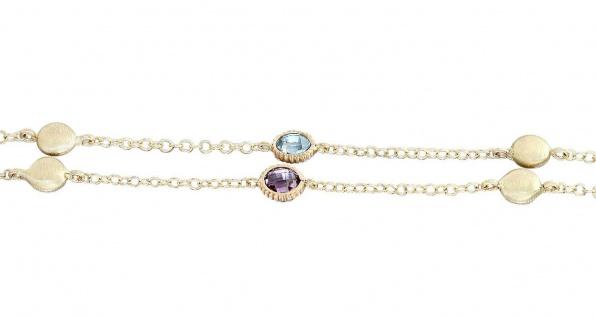 Goldkette 585 mit Topas und Amethyst Kette Gelbgold 14 Kt Halskette Collier Gold
