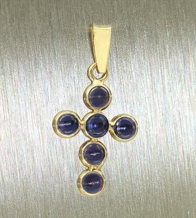 Kleines Goldkreuz 585 mit lila Steinen - Anhänger Kreuz Gold Goldanhänger 14 kt