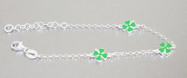 Kleeblatt Armband Silber 925 Glücksklee Kinder Mädchen Armkette Karabiner - Vorschau 3
