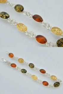 Armband Silber 925 mit multicolor Bernstein - Cabochon - Silberarmband Armkette