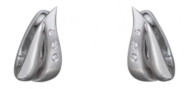 Klappcreolen Weißgold 585 mit Zirkonias Ohrringe Gold Weißgoldcreolen 14 kt