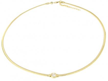 Omega Halsreif Silber 925 rhodiniert, Rotgold oder Gelbgold vergoldet m Zirkonia - Vorschau 4