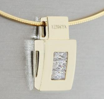 Anhänger Gold 585 massiv Zirkonia Baguette super Design wahlweise mit Halsreif