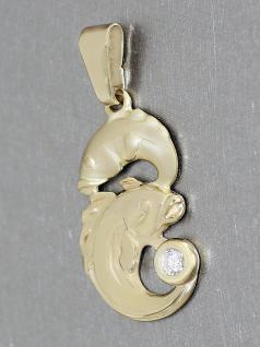Sternzeichen Fisch - Anhänger Gold 750 mit Zirkonia - Goldanhänger 18 kt Fische