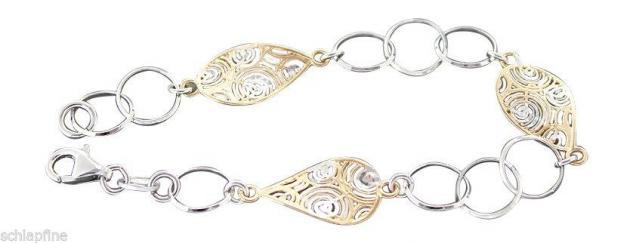 Armband Silber 925 - Silberarmband massiv - Designerarmband Armkette Silber Gold