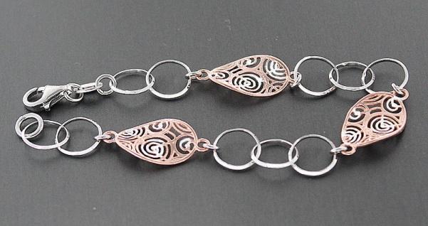 Designer Armband Silber 925 massiv - Silberarmband Rotgold Armkette Damenarmband