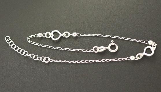 Fußkettchen Silber 925 mit Herzen Silberkette Fußkette mit Herz massiv
