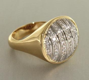 Luxus Ring Gold 750 massiver Goldring mit 64 Brillanten - Damenring Brillantring