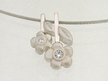 Silberkette feiner Halsreif mit Anhänger Blume Silber 925 Collier echt Silber