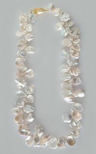 Echte Perlenkette Collier große Optik mit Goldverschluss 750 Halskette