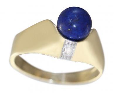 Goldring 585 mit Lapis Lazuli u Brillant Ring Gelbgold 14 Karat Damen Lapisring