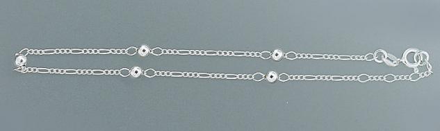 Silber 925 Kugel Fußkette - Fußkettchen - Figarokette - Silberkette mit Kugeln