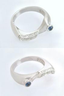 Top Weißgoldring 585 - Brillantring 0, 12 ct. u. Saphir - Ring Weißgold 14kt Gold