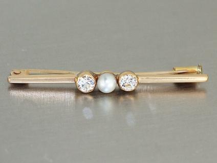 Brosche Gold 585 mit Perle und Zirkonias, Goldbrosche 14 kt Stabbrosche
