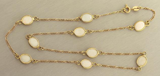 Goldkette 750 mit Milchopal Cabochons Opalkette Kette 18 kt Gold Opal