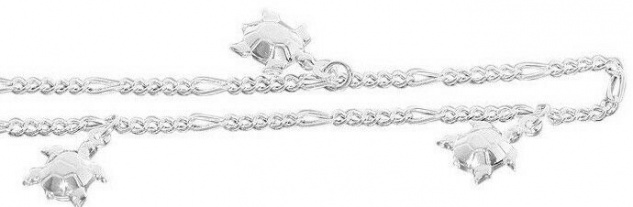 Massive Fußkette Silber 925 mit Schildkröten Fußkettchen Figarokette Silberkette