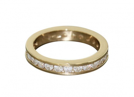 Memoryring - Goldring 585 mit Zirkonias - Ring Gold 4, 6 gr.- Bandring Damenring