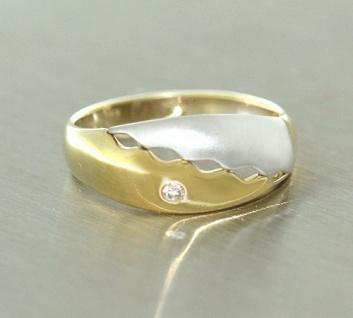 Goldring 585 mit Brillant Ring in Zweifarbengold Brillantring Gold Damenring