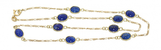 Lapislazuli Collier - Goldkette 750 mit Lapis - Halskette - Kette Gold 18 Karat