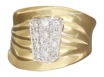 Breiter Goldring 585 mit 12 Brillanten - Ring Gold Damenring Brillantring Rw 54