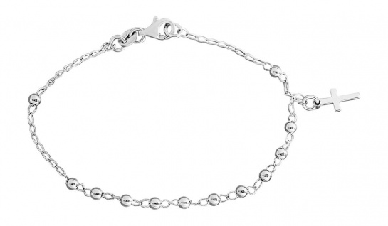 Feines Armband Silber 925 Kugelarmband Kreuz Anhänger Armkette Sterlingsilber