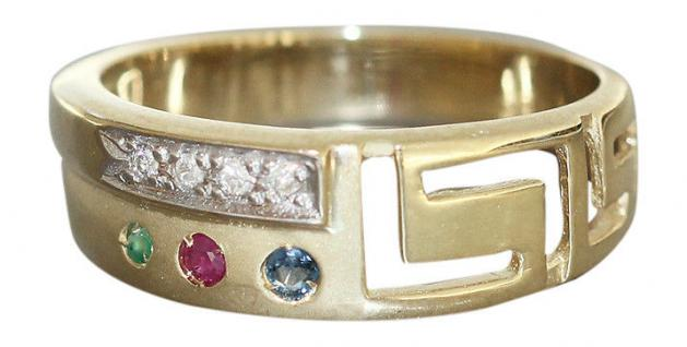 Multicolor Ring Gold 585 mit Brillant, Rubin, Saphir u. Smaragd Goldring 14 kt