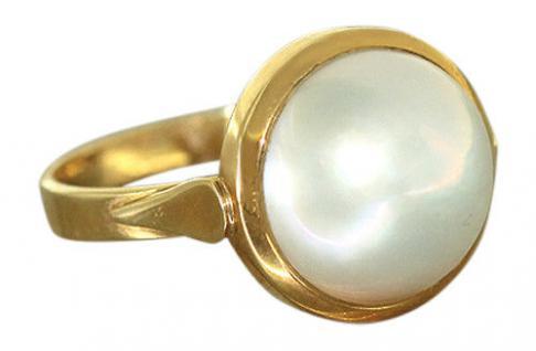 Klassischer Ring Gold 750 mit Mabe Perle - Goldring - Perlenring - Damenring