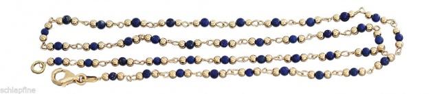 Feine Kugelkette Gold 750 mit Lapis Lazuli Goldkette Kette Gold 18 Kt. mit Lapis