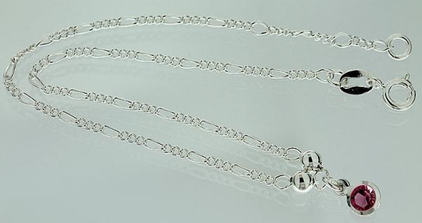 Massives Fußkettchen echt Silber 925 mit pink Zirkonia - Fußkette - Silberkette
