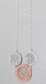 Collier Silber 925 Rosegold Silberkette Halskette mit Mittelteil Rotgold verg.