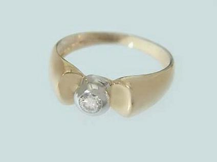 Solitärring Goldring 585 mit Brillant Brillantring 0, 14 ct. Ring Gold 14 kt