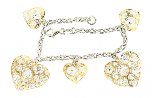 Silberarmband 925 Bettelarmband mit großen Herzen Armband Herz Gold pl Silber