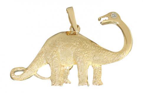 Dinosaurier Anhänger Gold 585 mit Diamant - Goldanhänger 14 kt Dino