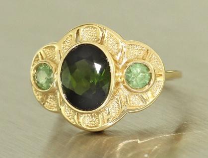 Exclusiver Ring Gold 585 mit Turmalin und Demantoid - Goldring - Damenring Rw 60