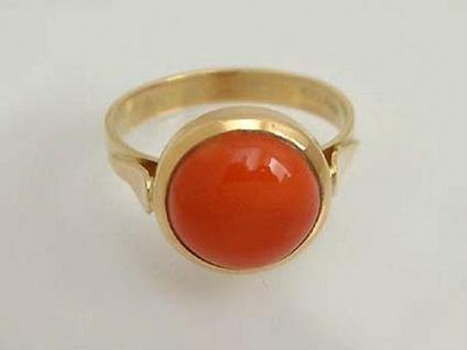 Goldring 750 mit echter Koralle - sehr schöner Korallenring - Ring Gold 18 kt