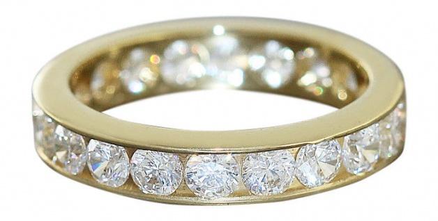 Memoryring Gold 750 Massiver Goldring mit Zirkonia Ring Gold Bandring 18kt