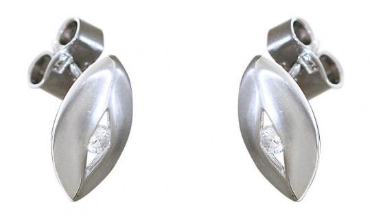 Navette Ohrstecker Silber 925 mit Zirkonia - Ohrschmuck - Ohrringe Silberstecker
