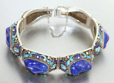Armband Silber 925 mit Lapislazuli + Email - Silberarmband - Armband - Armkette