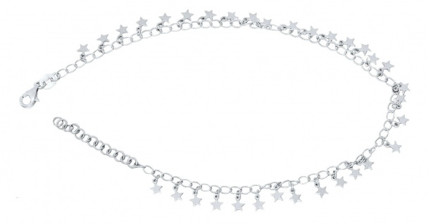 Fußkette Silber 925 Stern Anhänger Fußkettchen Sternchen massiv Karabiner Damen