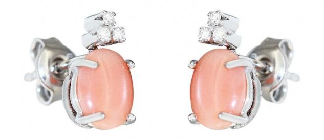 Ohrstecker Weißgold 750 mit Engelshaut Korallen u Brillanten Ohrringe Ohrschmuck